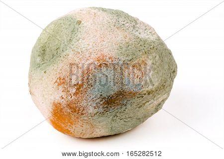 Mouldy orange on a white background fruit rotten