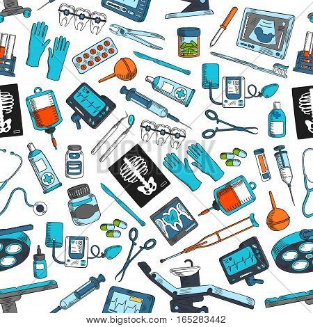 Therapy and surgery medicine seamless pattern of vector medical tools and medications pill drugs capsules, blood dropper, instruments of scalpel, scissors and syringe, dental tooth braces and gloves, dentist chair, X-ray or ultrasound display