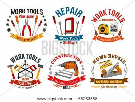 Repair, construction, building, carpentry work tools icons or emblems of pliers, screw, bolts and nuts with screwdrivers, fretsaw and tape measure, hammer mallet and drill with woodwork plane. Vector isolated toolkit badges and ribbons