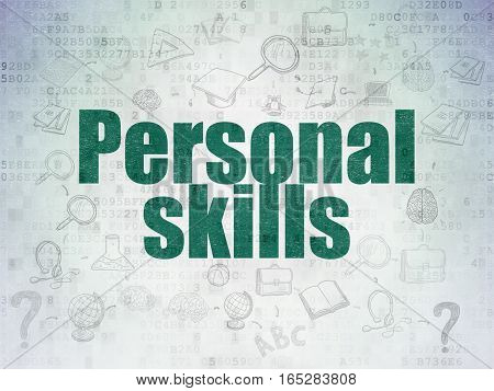Education concept: Painted green text Personal Skills on Digital Data Paper background with  Scheme Of Hand Drawn Education Icons
