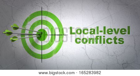 Success political concept: arrows hitting the center of target, Green Local-level Conflicts on wall background, 3D rendering