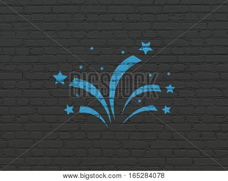 Entertainment, concept: Painted blue Fireworks icon on Black Brick wall background