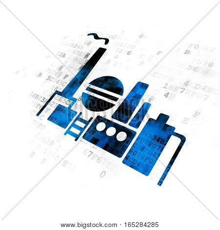 Industry concept: Pixelated blue Oil And Gas Indusry icon on Digital background