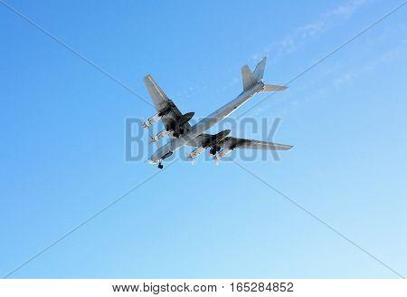 Russian long-range strategic bomber Tu-95 in flight