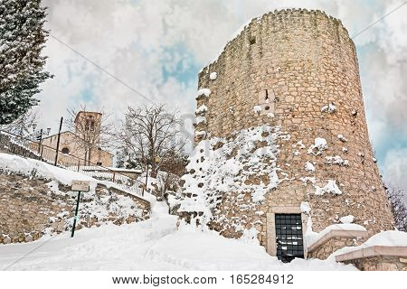 tower and church with snow in campobasso