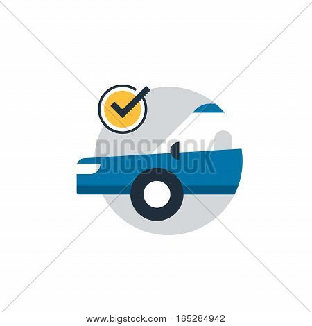 Blue car in a circle with wrench and gear wheel. Auto car insurance concept, diagnostic servises, well functioning vehicle. Flat design vector illustration