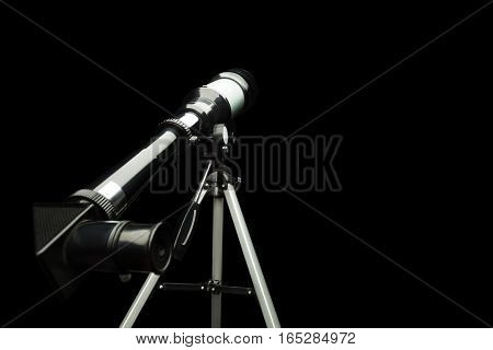 Close-up of telescope eyepiece on the tripod standing isolated on black