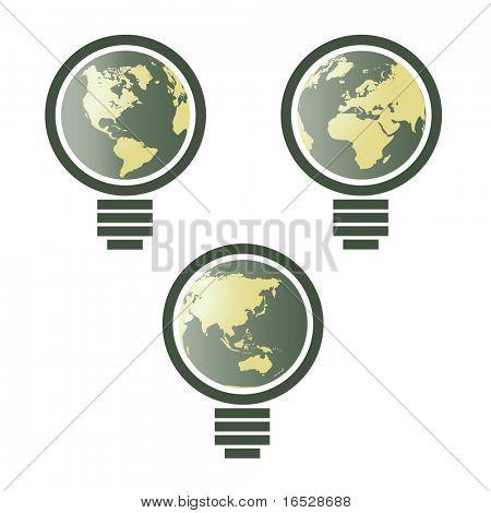 Mapa del mundo en bombilla - vector ambiental