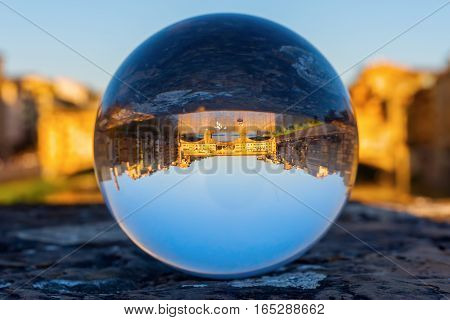 Glass Ball With Ponte Vecchio In Florence