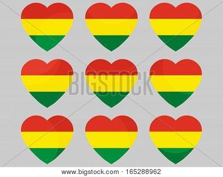 Heart With The Flag Of Bolivia. I Love Bolivia. Vector Illustration