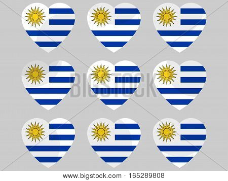 Heart Icons With The Flag Of Uruguay. I Love Uruguay. Vector Illustration.