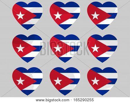 Heart with the flag of Cuba. I love Cuba. Vector illustration