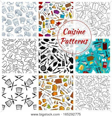 Kitchenware and dishware seamless pattern set of cuisine and cooking kitchen utensils of vector electric kettle or pot, chef hat toque, spatula ladle, knife and fork, grater and glove, cutting board, mixer, saucepan and frying pan, salt or pepper