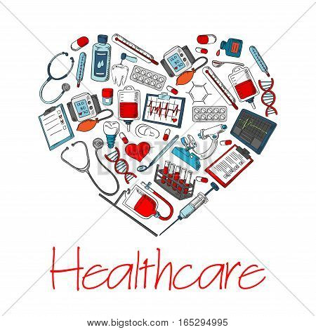 Medical items and medicines heart poster of vector medications and treatments, pills and drugs, heart pulse and tooth implant, DNA helix and microscope, thermometer, stethoscope and dropper, x-ray and pulsometer, syringe and dentistry drill