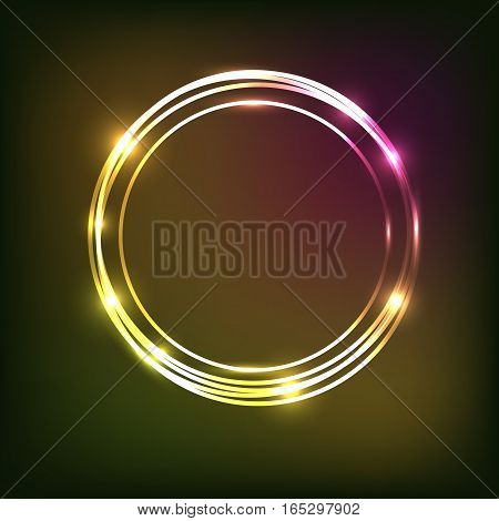 Abstract colorful neon background with circles, stock vector