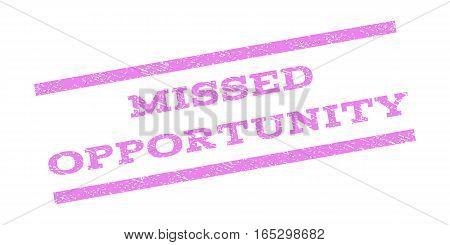 Missed Opportunity watermark stamp. Text tag between parallel lines with grunge design style. Rubber seal stamp with dust texture. Vector violet color ink imprint on a white background.