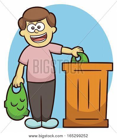 Man Throwing Trash into Trash Bin Cartoon Illustration
