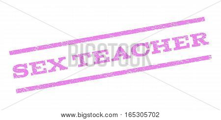 Sex Teacher watermark stamp. Text caption between parallel lines with grunge design style. Rubber seal stamp with dust texture. Vector violet color ink imprint on a white background.