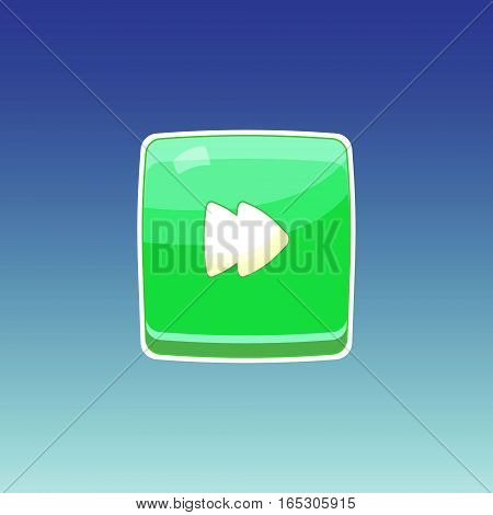 Game button. Single button for gaming interfaces. Green square button. Vector GUI elements for mobile games. Game icon on blue background