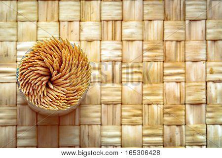 Toothpicks in swirl on the kitchen table