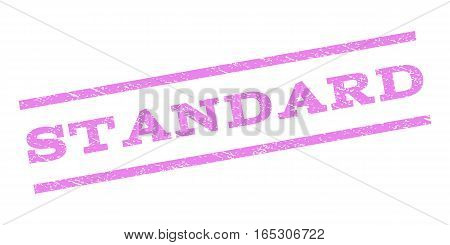 Standard watermark stamp. Text tag between parallel lines with grunge design style. Rubber seal stamp with unclean texture. Vector violet color ink imprint on a white background.