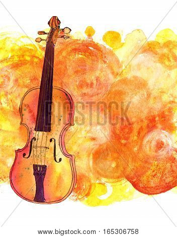 A watercolour and ink drawing of a violin on a golden background with a place for text