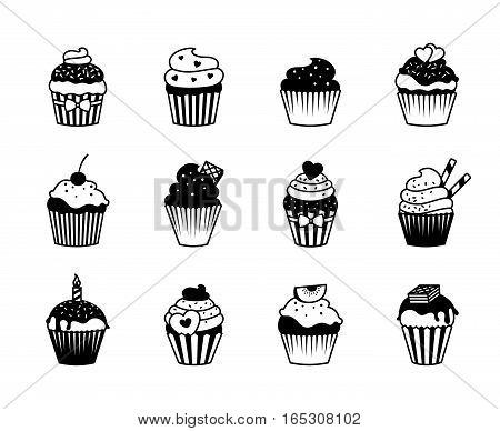 Cupcake icons and dessert muffin symbols vector illustration