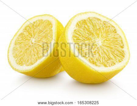 Half Lemon Citrus Fruit Isolated On White