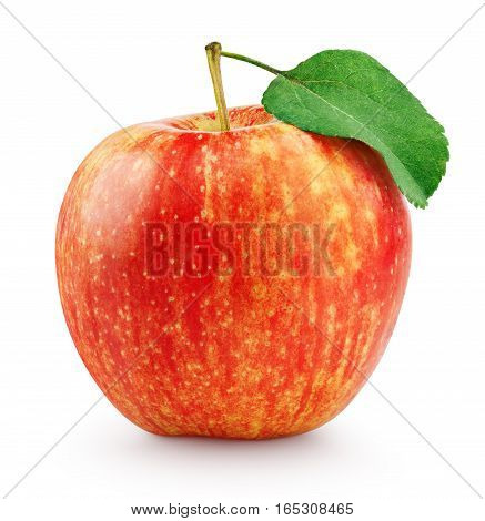 Red Yellow Apple With Leaf Isolated On White