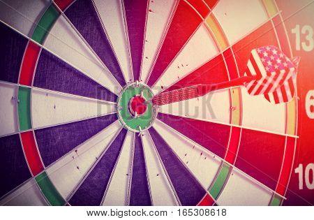 dart arrows in the target center,sunlight effected