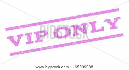 Vip Only watermark stamp. Text tag between parallel lines with grunge design style. Rubber seal stamp with unclean texture. Vector violet color ink imprint on a white background.
