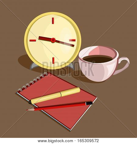 Flat design vector illustration. Business workplace with clock, cup of coffee, pen, pencil and notebook on the brown background
