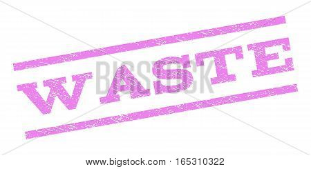 Waste watermark stamp. Text tag between parallel lines with grunge design style. Rubber seal stamp with dirty texture. Vector violet color ink imprint on a white background.