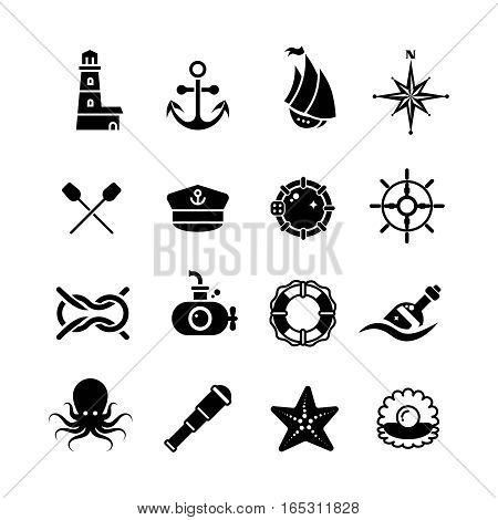 Marine, sea, nautical, pirate, maritime vector retro icons. Black white marine symbols illustration