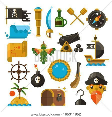 Sea adventure, pirate, weapon, treasure vector flat icons. Colored marine adventure elements, illustration of marine pirate