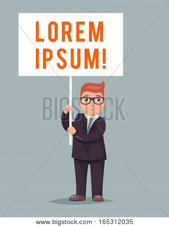 Demonstration Poster Event Stand Cute Businessman Character Icon Retro Cartoon Vector Illustration