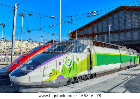 Paris, France - July 07, 2016 :  Modern Speed Passenger Train On Railways Station Gare De Nord ( Not