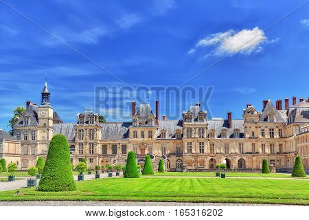 Fontainebleau, France - July 09, 2016 : Suburban Residence Of The France Kings - Facade  Beautiful C