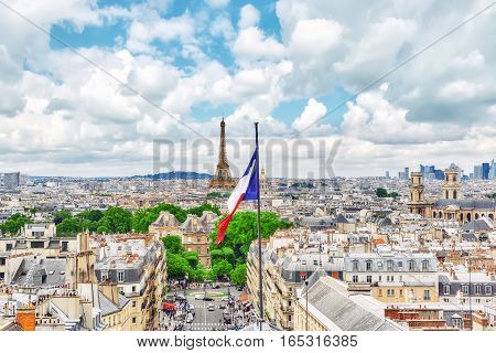 Paris, France - July 08, 2016 : Beautiful Panoramic View Of Paris From The Roof Of The Pantheon. Vie