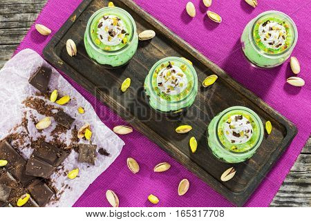Nut Cheesecake Mousse Chilled Desser, Top View