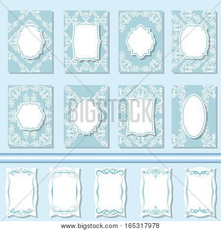 Set frames, labels, tags, invitations for your text Vector illustration