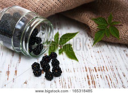 Jar With Blackberries