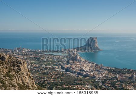 Panorama Of Calpe (calpe) Town, Spain. Overlooking The Coast, The Harbor, Lake And Ifach Cliff. Shot