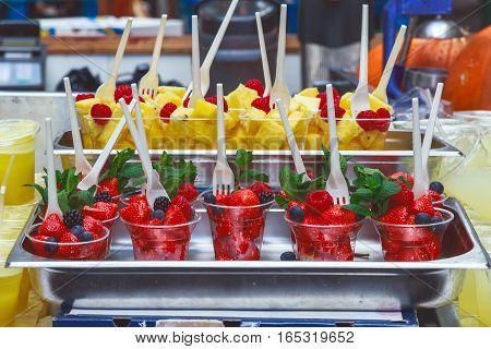 Fresh fruits on display at Borough Market London