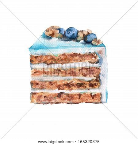 Mint piece of cake. With the berries. Isolated on a white background. Watercolor illustration.
