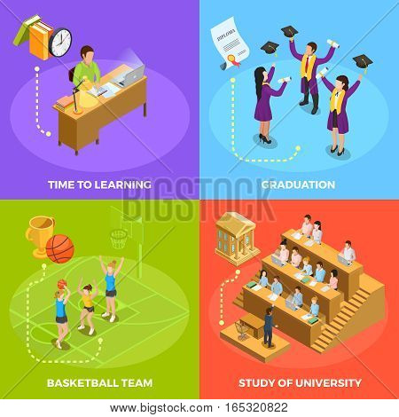 University students 4 isometric icons square poster with basketball match graduation and study work moments isolated vector illustration