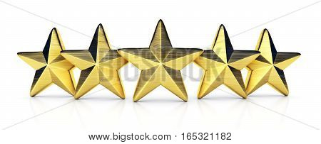 Five gold star rating on white background. 3d illustration