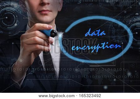 Business, Technology, Internet And Network Concept. Young Business Man Writing Word: Data Encryption