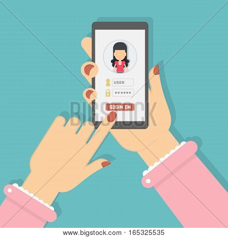 Sign in authorization. Hands hold smartphone and log in to the account. Application or website user. Woman icon.
