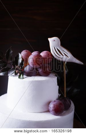 White two-tiered cake decorated with a bird grapes and leaves on a dark wooden background with dark light